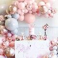 Воздушные шары арочный комплект мгновенной проявки Macaroon, серого и розового цвета; Хром воздушный шар цвета металлик гирлянда для свадьбы ...