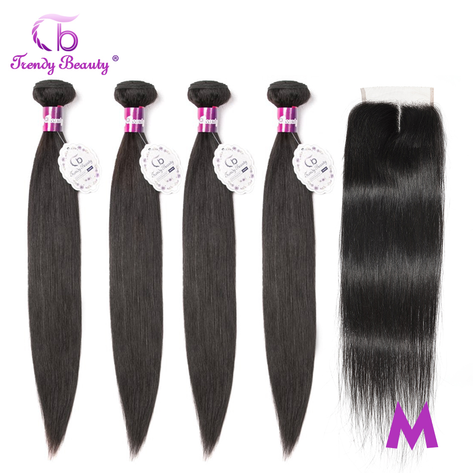Trendy Beauty Peruvian Straight Hair 4 Bundles With Closure Non-remy 100% Human Hair Bundles With Baby Hair Middle/Three/Free