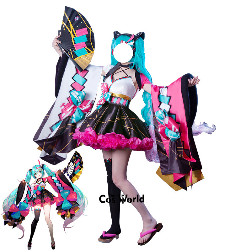 2020 Vocaloid Magical Mirai Hatsune Miku Summer Festival Yukata Kimono Tops Dress Outfit Anime Cosplay Costumes