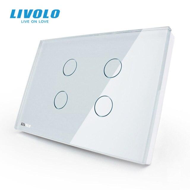 "Livolo ארה""ב סטנדרטי קיר אור מגע מתג, 4 כנופיה 1way , AC 110 ~ 250V, לבן זכוכית קריסטל לוח, VL C304 81"