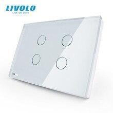 Livolo US Standard Wall Light TOUCH Switch ,4GANG 1Way,AC 110 ~ 250V,แผงคริสตัลแก้วสีขาว,VL C304 81