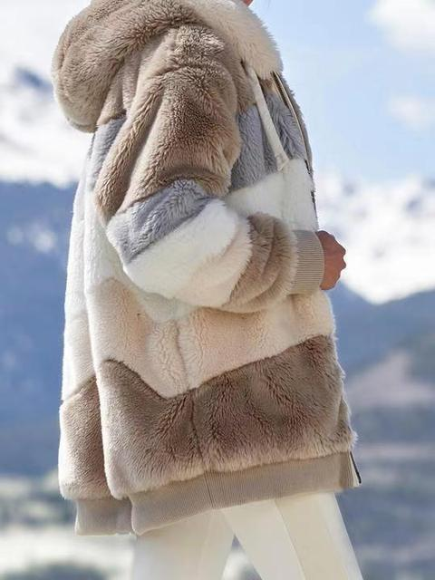 2020 Winter Women's Coat Fashion Casual Stitching Plaid Ladies Clothes Hooded Zipper Ladies Coat Lamb Hair women jacket 2