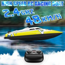 Novo brushless rc racing boat 48km/h 2.4g de alta velocidade eletrônico controle remoto barco brinquedos para crianças brinquedos controle remoto