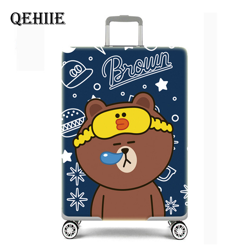 Cute Bear Luggage Cover Travel Suitcase Protector Suit For 18-32 Size Trolley Case Dust Travel Accessories Elasticity Box Sets