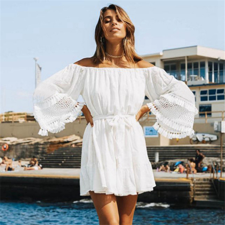 Europe And America Rayon Slub Fabric Loose-Fit Sleeve Lace Belt Belt Beach Skirt Bathing Suit Blouse Coat WOMEN'S Short Skirt 86