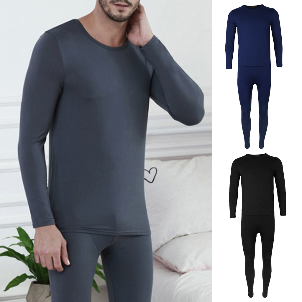 Unisex Adults Winter Warm Cotton Thermal Underwear Long Johns Pajama Base Layer Top Bottom Set