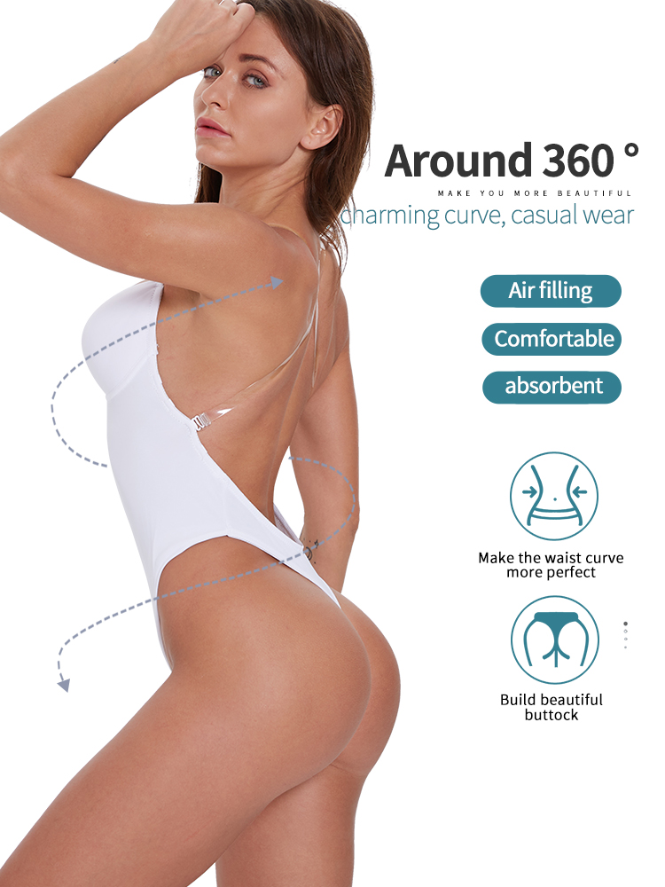 Image 5 - sexy lingerie Slim Fitted Skinny Summer shapewear women lingerie ass pulling Sexy Backless Beha Plunge Bras Thong OnzichtbareBodysuits   -