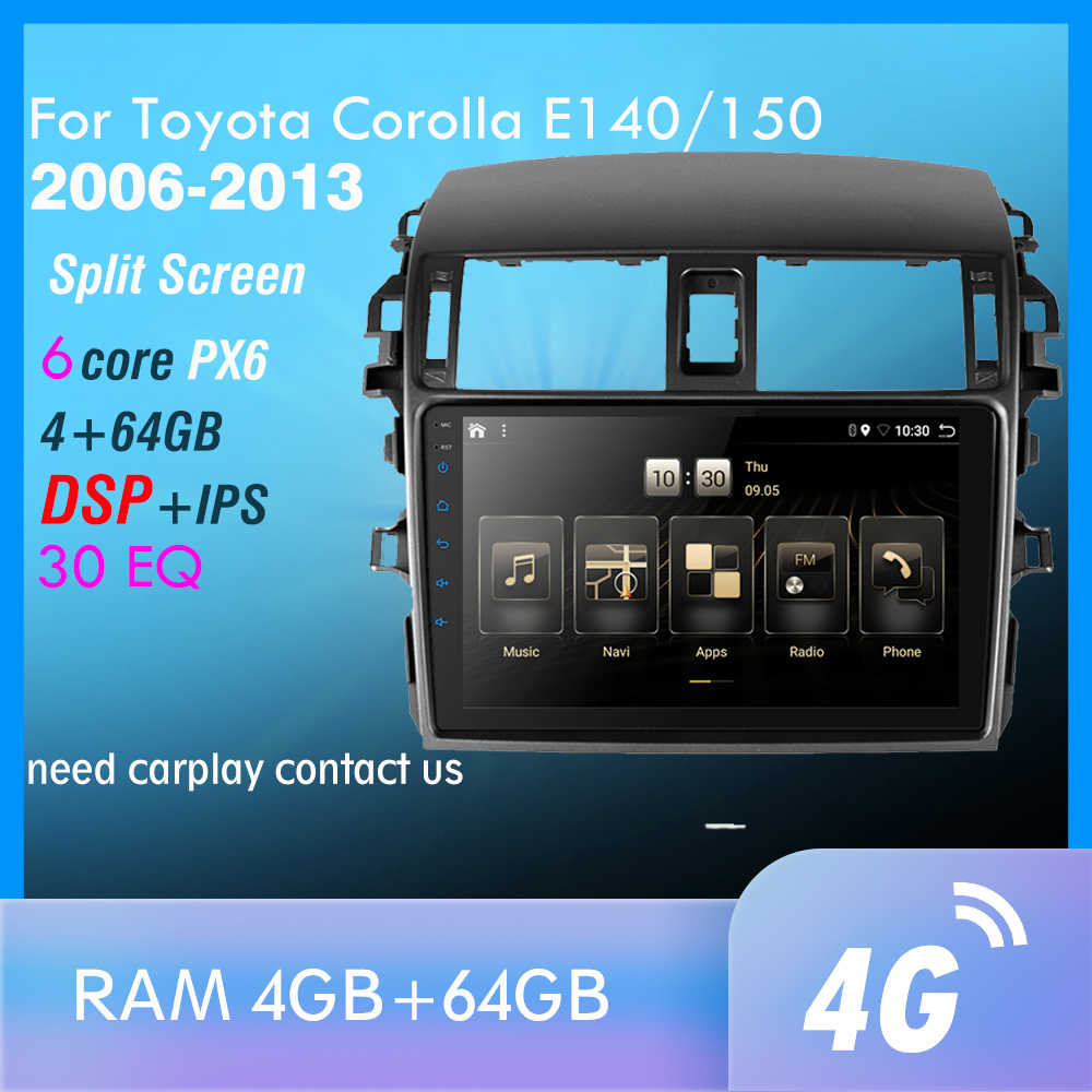 PX6 Android 9.0 Dsp Auto Radio Voor Toyota Corolla E140/150 2006-2013 Multimedia Video Player Navigatie Gps wifi 4G Obd Swc Tmps