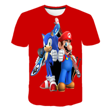 Summer Cool Sonic The Hedgehog T-shirts 3D Baby Boy Supersonic Sonic Mario Costume Children Clothes Boys T Shirt Girls Teen Tops custom name sonic t shirt boys clothes cool children clothes sonic the hedgehog mario girls sweatshirt boys t shirt kid girl top