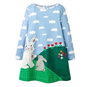 Baby Girls Dresses Clothes Kids Cotton Rabbit Dress Animal Appliqued Children Clothing Toddler Girl Dress Princess Costume 2-7Y(China)