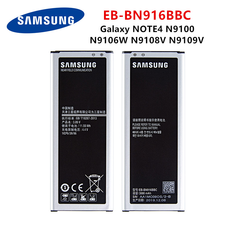 SAMSUNG Orginal EB-BN916BBC 3000mAh Battery For Samsung Galaxy NOTE4 N9100 N9106W N9108V N9109V Note 4 Batteries + WO