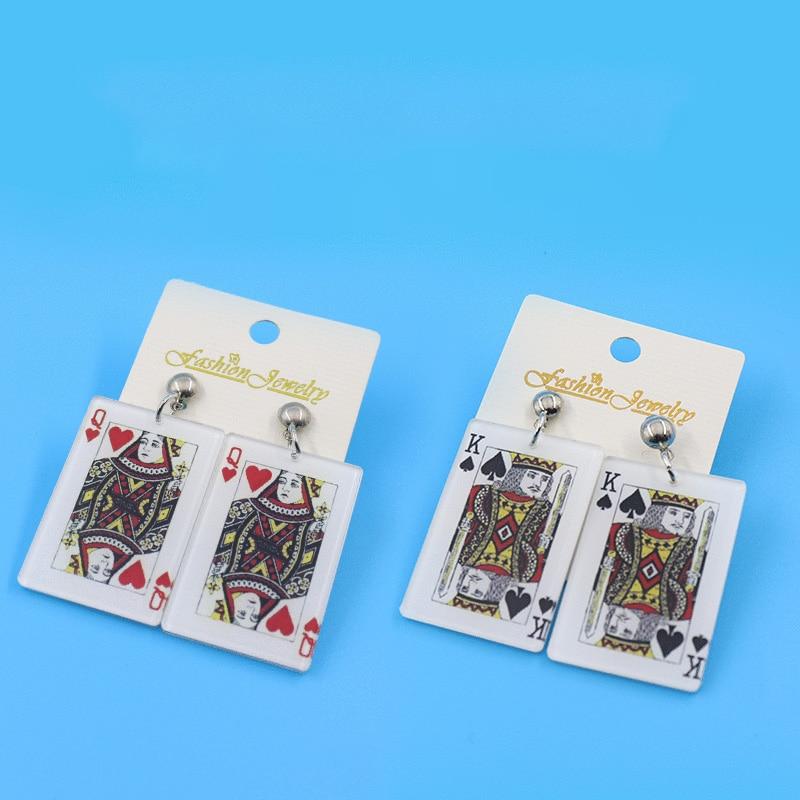 Преувеличенный игральная карта акриловые серьги для женщин Мода Большой кисточкой покера длинные висячие серьги в форме квадрата геометри...
