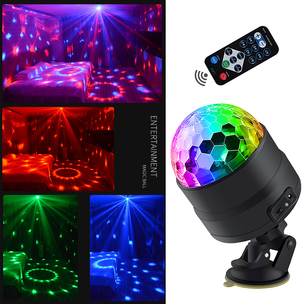 Sound Activated Rotating Disco Ball Party Lights Strobe Light USB LED Stage Lights For Christmas Home KTV Xmas Wedding Show