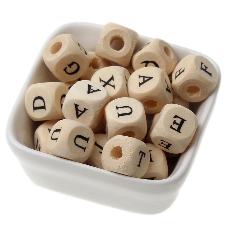 50 шт. 10 мм квадратные деревянные бусины алфавита для детского гладкого прорезывателя, детского браслета, ожерелья, изготовления ювелирных у...