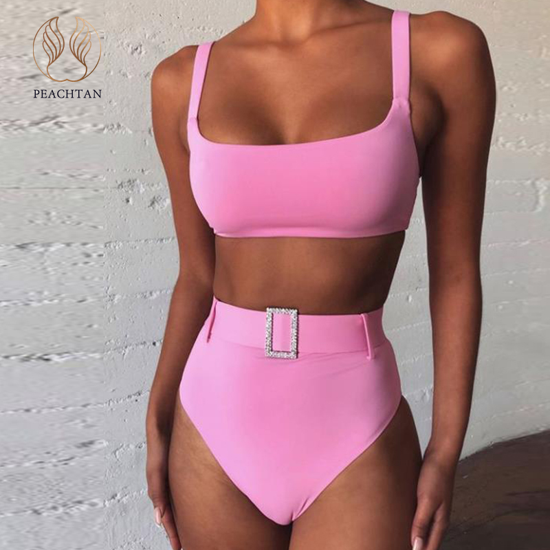 Peachtan Vintage Solid Pink Bikini 2020 Mujer Bandeau Swimsuit Female High Waist Swimwear Women Beach Wear Bathing Suit Biquini