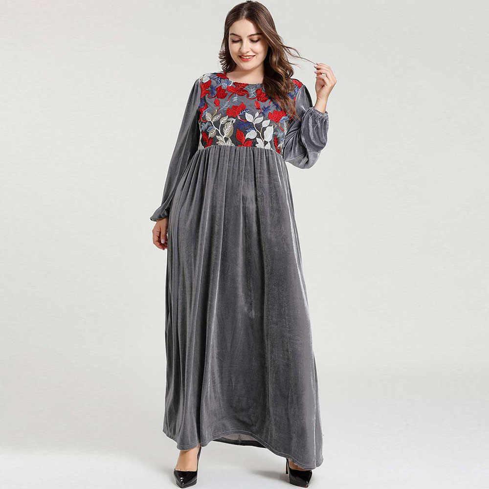 イスラム教徒ドレスアバヤファッション女性威厳のあるエレガントなベルベット刺繍長袖ドバイローブイスラム教徒カジュアルドレス大サイズ