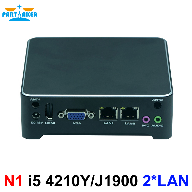 Partaker N1 Mini PC Windows 10 Fanless Computer Intel J1900 N2805 I5 4210Y Nano Nuc Mini Computer Dual Lan HDMI VGA VESA