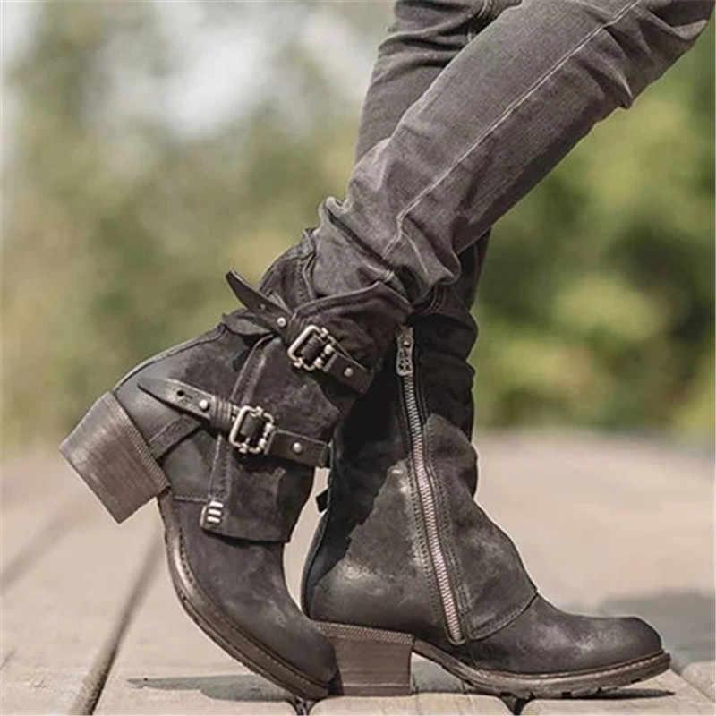 Punk tarzı çapraz toka PU deri yarım çizmeler motosiklet kadınlar için çizmeler tıknaz topuklu rahat ayakkabılar yuvarlak ayak kısa kadın çizme