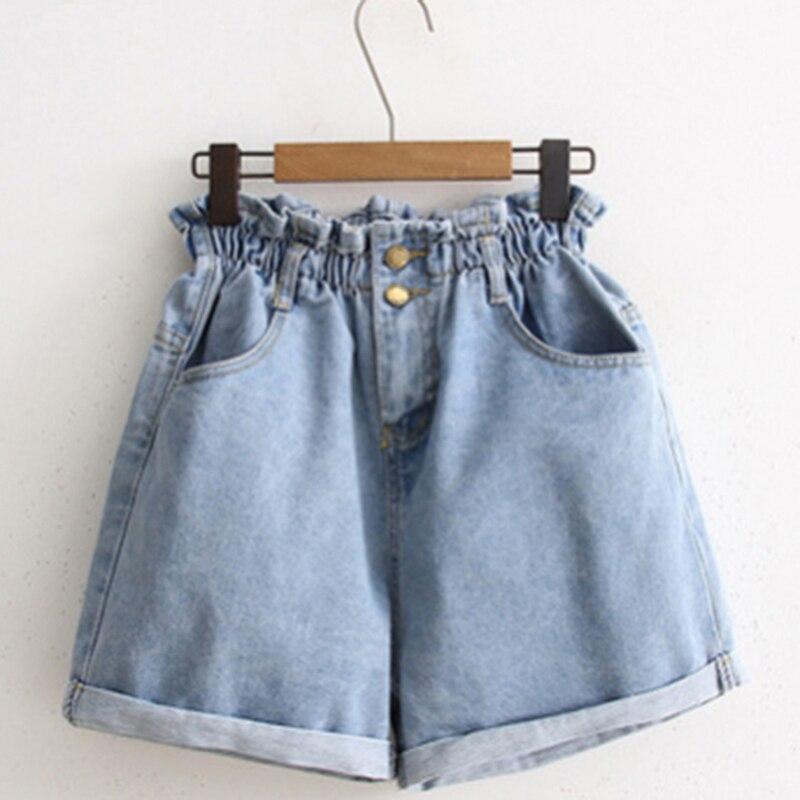Женские повседневные свободные модные шорты с эластичной резинкой на талии и карманами, синие и белые шорты 2020, летние джинсовые шорты с