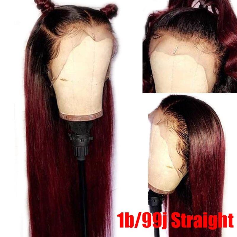 13*6 объемная волна 1b/99J цветные кружевные передние человеческие волосы парики для женщин Омбре Бургундский кружевной передний парик предвар... - 4