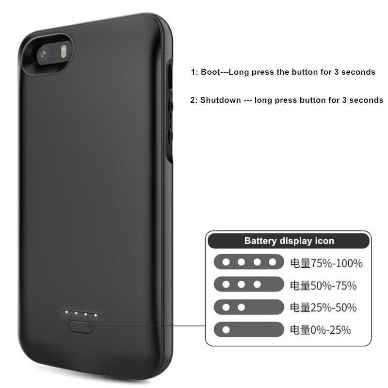 חם 4000mAh סוללה מקרה מטען עבור iPhone SE 5SE 5 5S כוח בנק טעינת Powerbank מקרה עבור iPhone 5 5S SE 5SE סוללה מקרה
