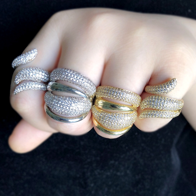 Luxury Stackable Ring For Women Micro Pave Cubic Zircon Gold/Silver Color Punk Bridal Opening Finger Rings CZ Statement Jewelry