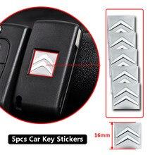 5 pçs 16mm remoto chave do carro adesivos emblema logotipo acessórios para citroen c4 c1 c5 c6 c5 c8 ds C-ELYSEE vts c4l xantia ds3 xsara