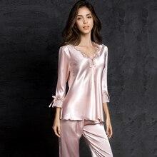 pijamas women Female pantsuit Ice Silk Suit Long Sleeve silk pajamas Thin Bud Sleeping Home sleepwear