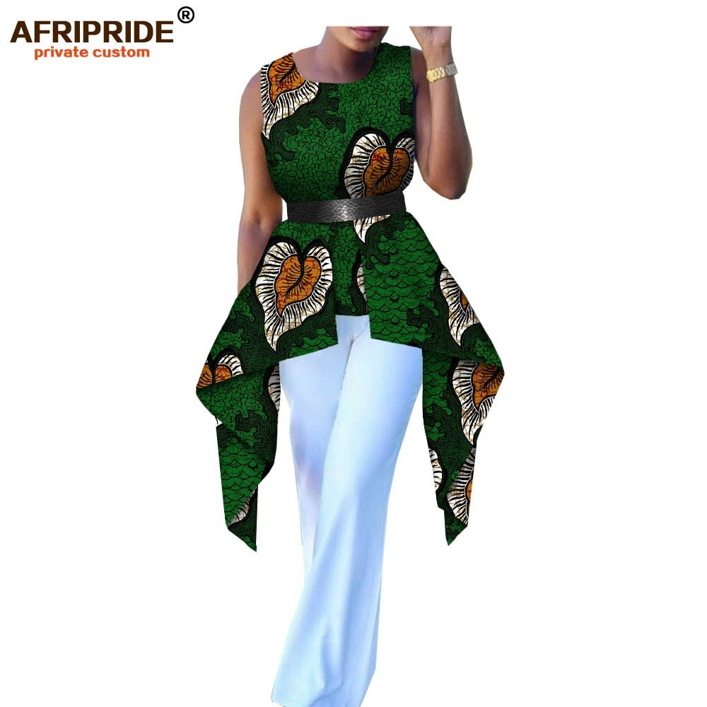 African Clothing For Women Casual Shirt AFRIRIDE Tailor Made Sleeveless O-neck Women Shirt 100% High Quality Cotton A1822002
