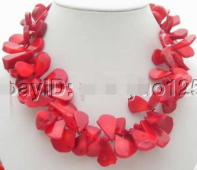 916 + + + отлично! 21 мм Красный коралл ожерелье