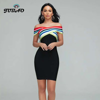 top quality 2020 Sexy dresses bodycon slash neck black bandage rayon night club evening party wholesale celebrity