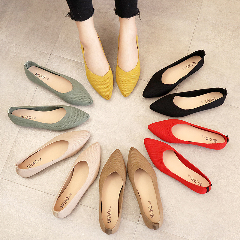 2020 Women's Flat Shoes Ballet Shoes Breathable Knitted Pointed Shoes Mixed Color Women's Soft Shoes Women Zapatos De 35-40