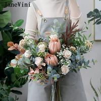 JaneVini 2020 Romantic Eucalyptus Silk Roses Bridal Emperor Flowers Weding Bouquets Artificial Europe Style Bride Bouquet Marie