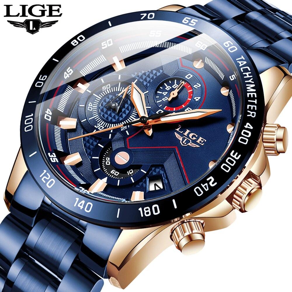 Mens Watches LIGE Top Brand Luxury Chronograph Wrist Watch All Steel Watches For Men Waterproof Quartz Watches Relogio Masculino