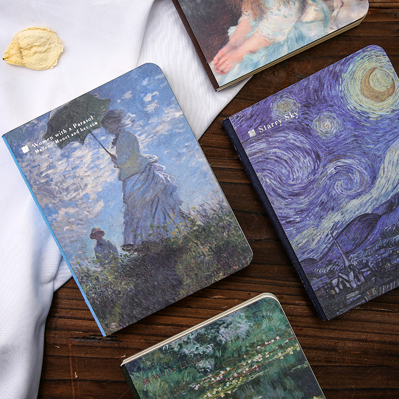 Jianwu 1pc World Famous Painting Creative Notebook Van Gogh Monet