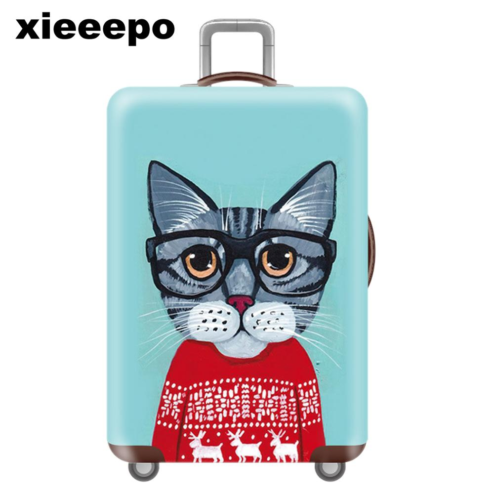 Cartoon Blue Cat Luggage Cover Protective Case Waterproof Thicken Elastic 3D Suitcase Cover For 18-32 Inch XL Travel Accessorie