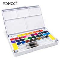 Juego de pintura de acuarela sólida portátil de alta calidad con pincel de pintura de Color brillante pigmento para suministros de arte para estudiantes