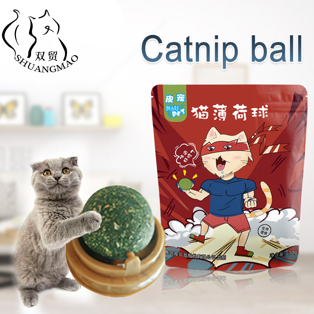SHUANGMAO Pet Catnip Toys Edible Ball Safety Healthy Cat Mint Cats Home Chasing Game Toy Products Clean Stomach Teeth Protects