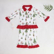 Pigiami del bambino Di Natale Del Modello T Shirt Per Bambini Insiemi delle Ragazze Vestiti Pantaloni Della Tuta Sportiva & Cappotti Famiglia di Corrispondenza vestiti di Sonno