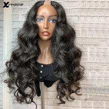 250 densidade completa u parte perucas onda do corpo parte média 1*3 u parte perucas de cabelo humano para as mulheres brasileiro remy cabelo cor natural