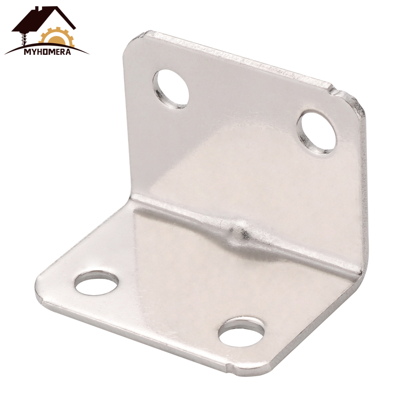 Myhomera 4Pcs Stainless Steel Corner Code Right Angle L Shape Support Connector Furniture Fixing Reinforced Thickening 90 Degree