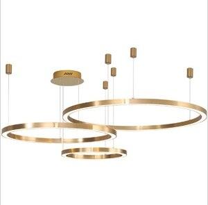 Скандинавский минималистичный Современный Люстра, Креативный светодиодный светильник для гостиной, столовой, Золотая люстра, спальня, кру...