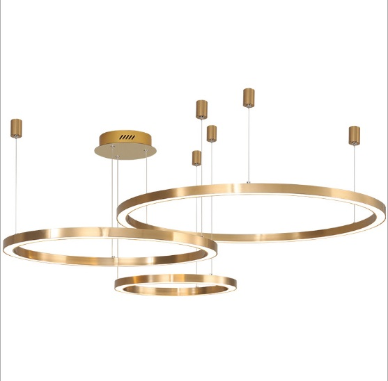 Nordic Minimalist Modern Chandelier Atmosphere Creative LED Living Room Dining Room Golden Chandelier Bedroom Circular Ring Lamp