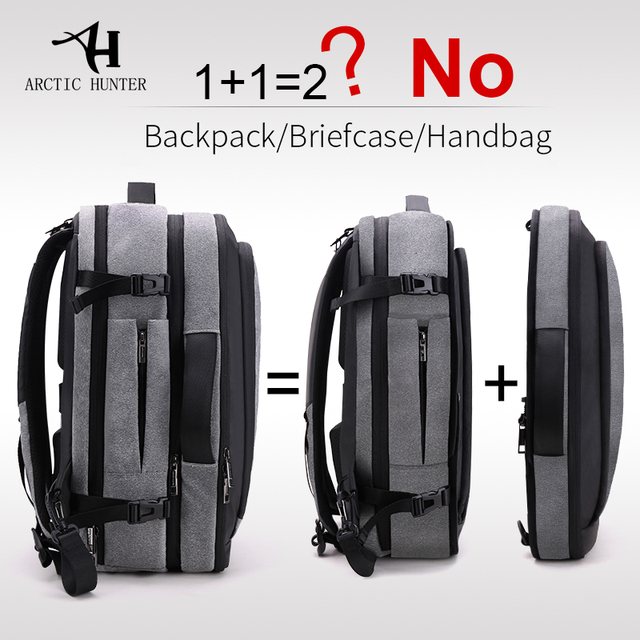ARCTIC HUNTER Mens business casual backpack large capacity city travel bag multi functional disassembly travel backpack male