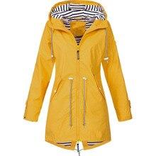 autumn Womens Solid Jacket Outdoor Coat Waterproof Hooded Windproof Casual Long Sleeve