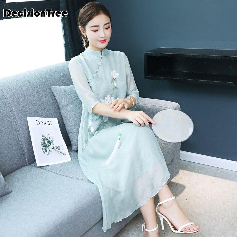 2019 Arrival Aodai Vietnam Qipao Dress For Women Traditional Clothing Ao Dai Dresses Knee Length Oriental Dress For Women