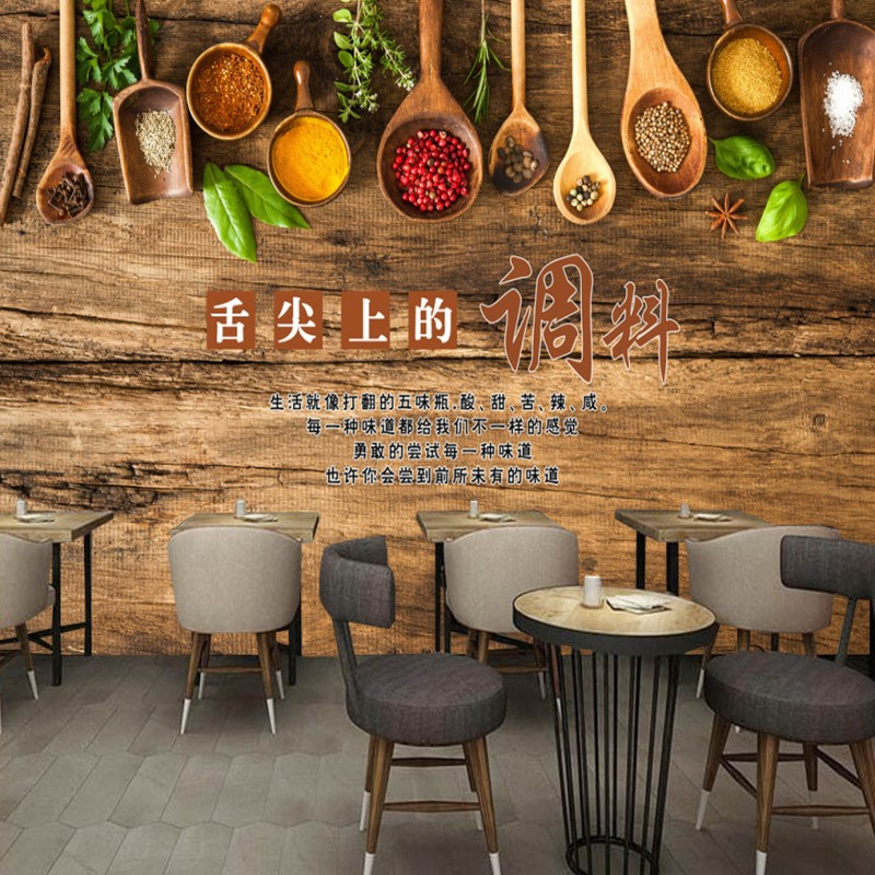 Dropship Custom Mural 3D Stereo Barbecue Hot Pot Restaurant Custom Mural Kitchen Wallpaper Home Decoration