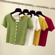 Buttons Knitted Hollow Out Womens T Shirt Summer Autumn T-Shirt Casual Square Collar Solid Color Short Sleeve