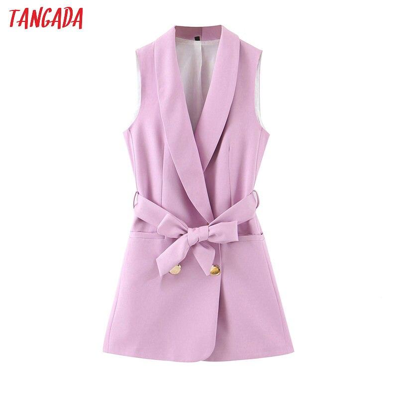 Tangada 2020 Women Solid Long Waistcoat Vest Coat With Slash Office Ladies Sleeveless Blazer Double Breasted Top SL281