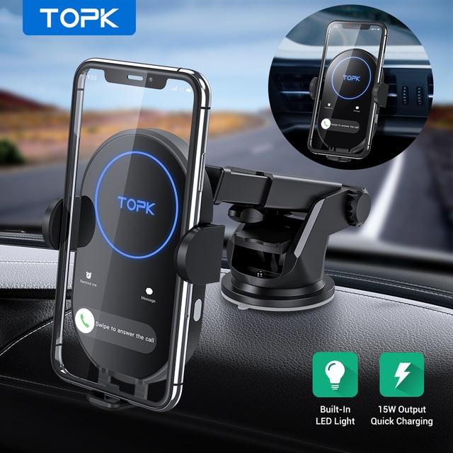 TOPK 15W kablosuz araç şarj cihazı indüksiyon araç montaj iPhone 11 Xiaomi hızlı kablosuz şarj araç telefonu tutucu
